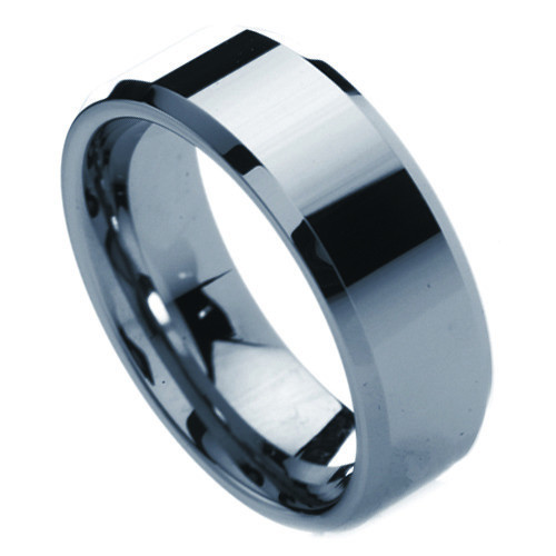 Men's Tungsten Ring with Beveled Edge (Non Fac...