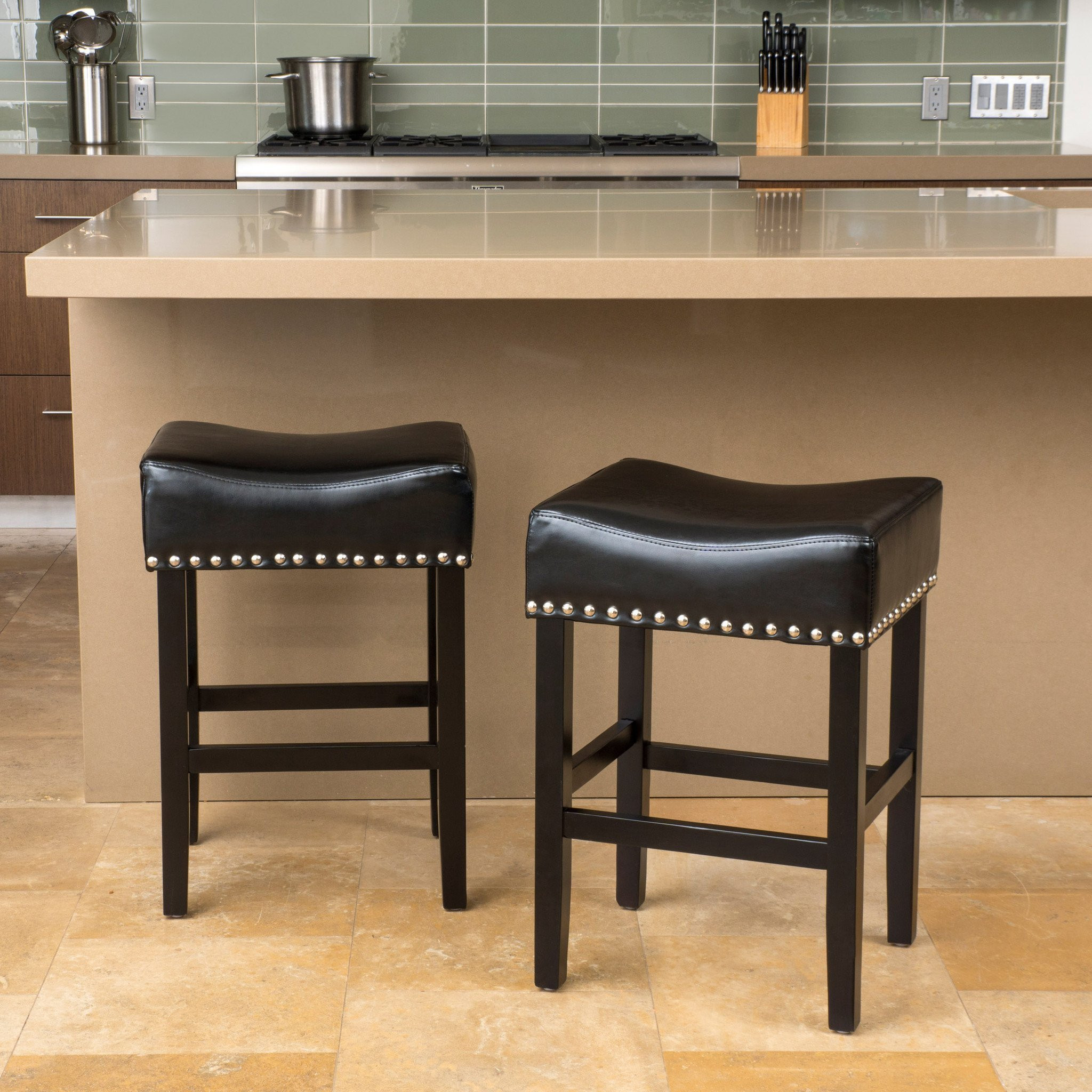 Loring Black Bonded Leather Backless Counter Stool...