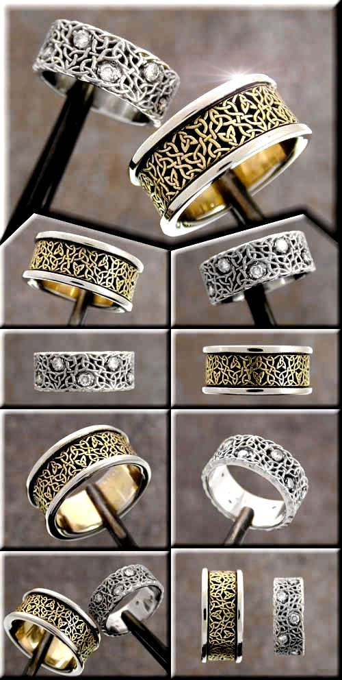 Another pair of custom celtic wedding rings. The j...