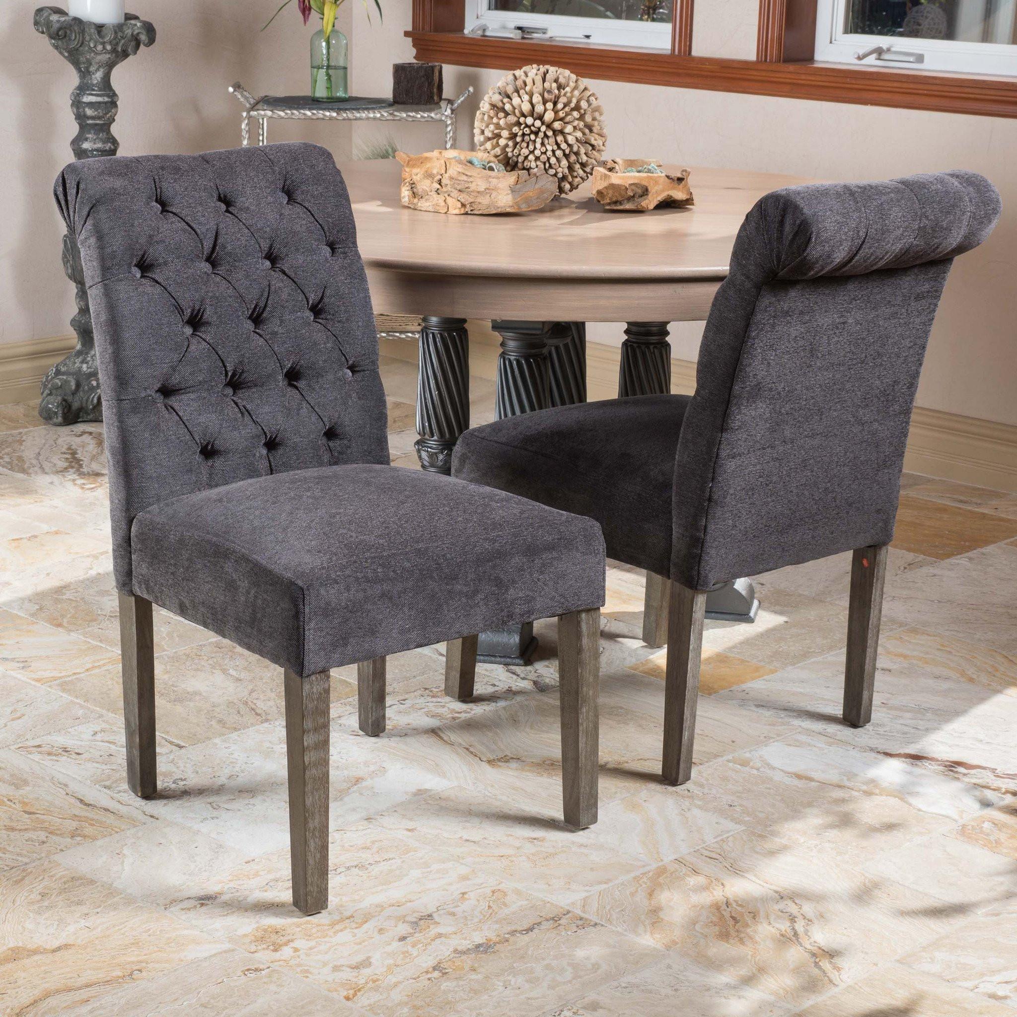 Elmerson Dark Grey Linen Dining Chair (Set of 2)