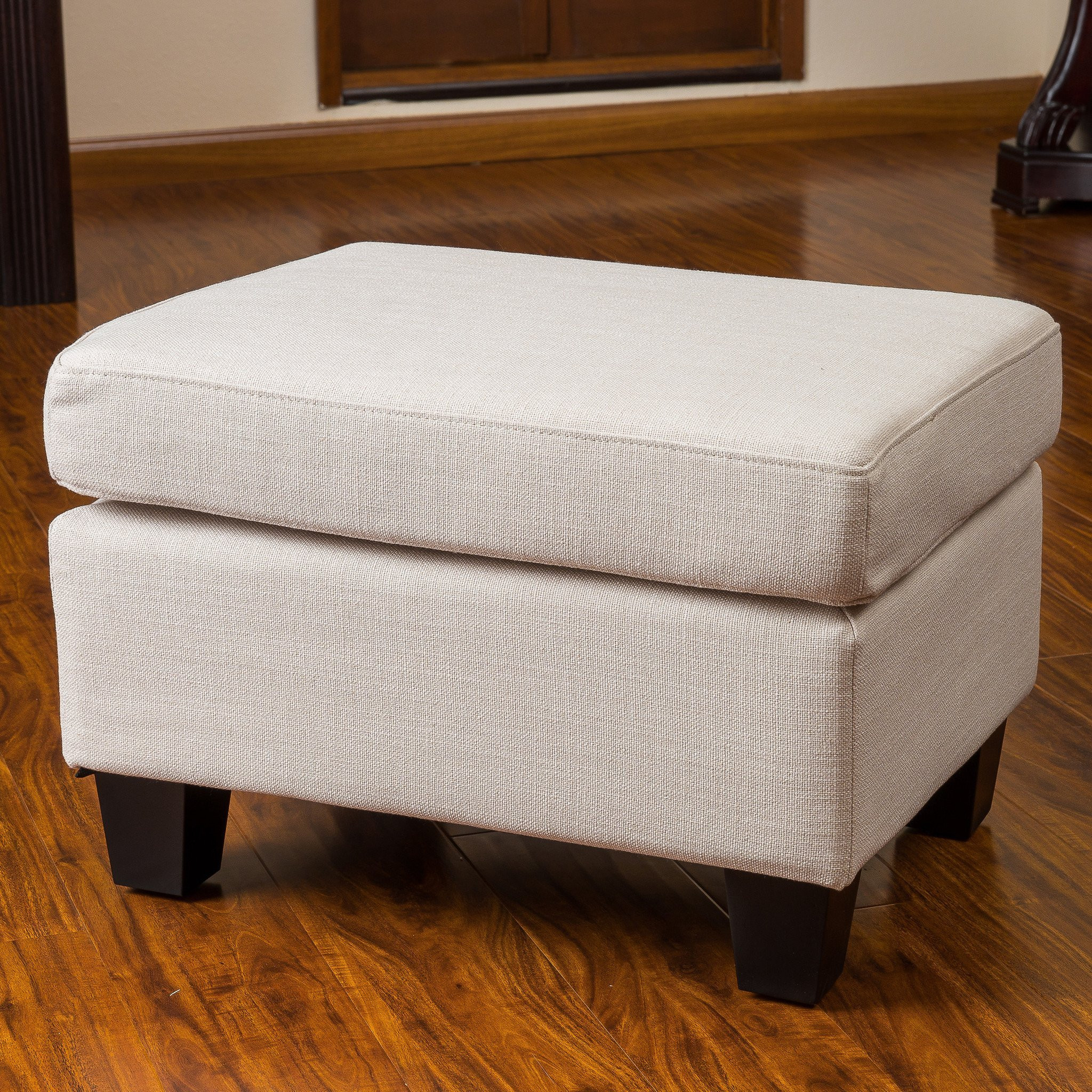 Christabel Beige Fabric Ottoman Footstool
