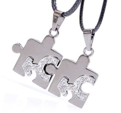 2pc Bling Set - Male CZ Puzzle Steel & Mars Sy...