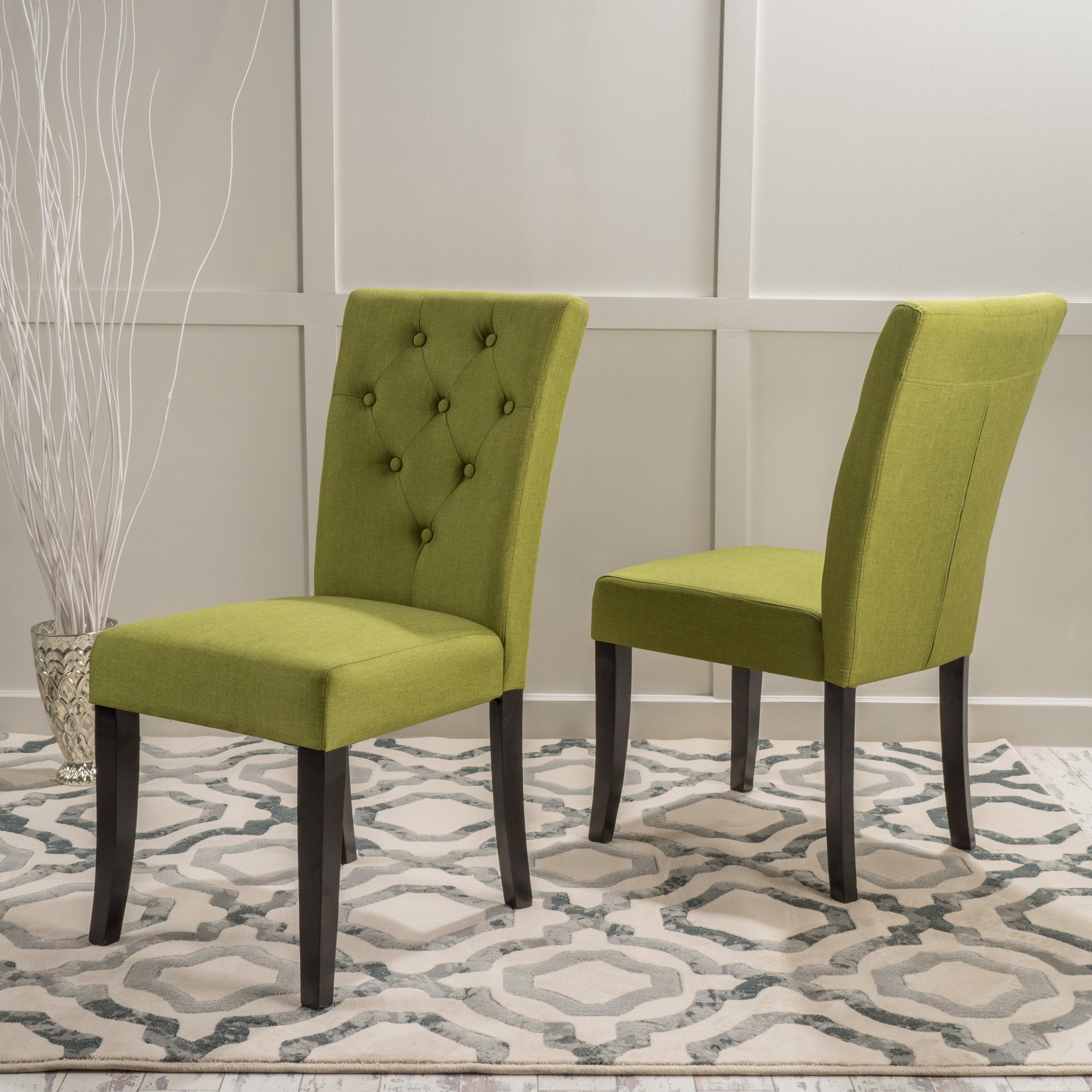 Nasima Green Fabric Dining Chair (Set Of 2)