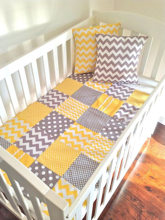 Baby  Crib Quilt  in modern grey and yellow.. by A...