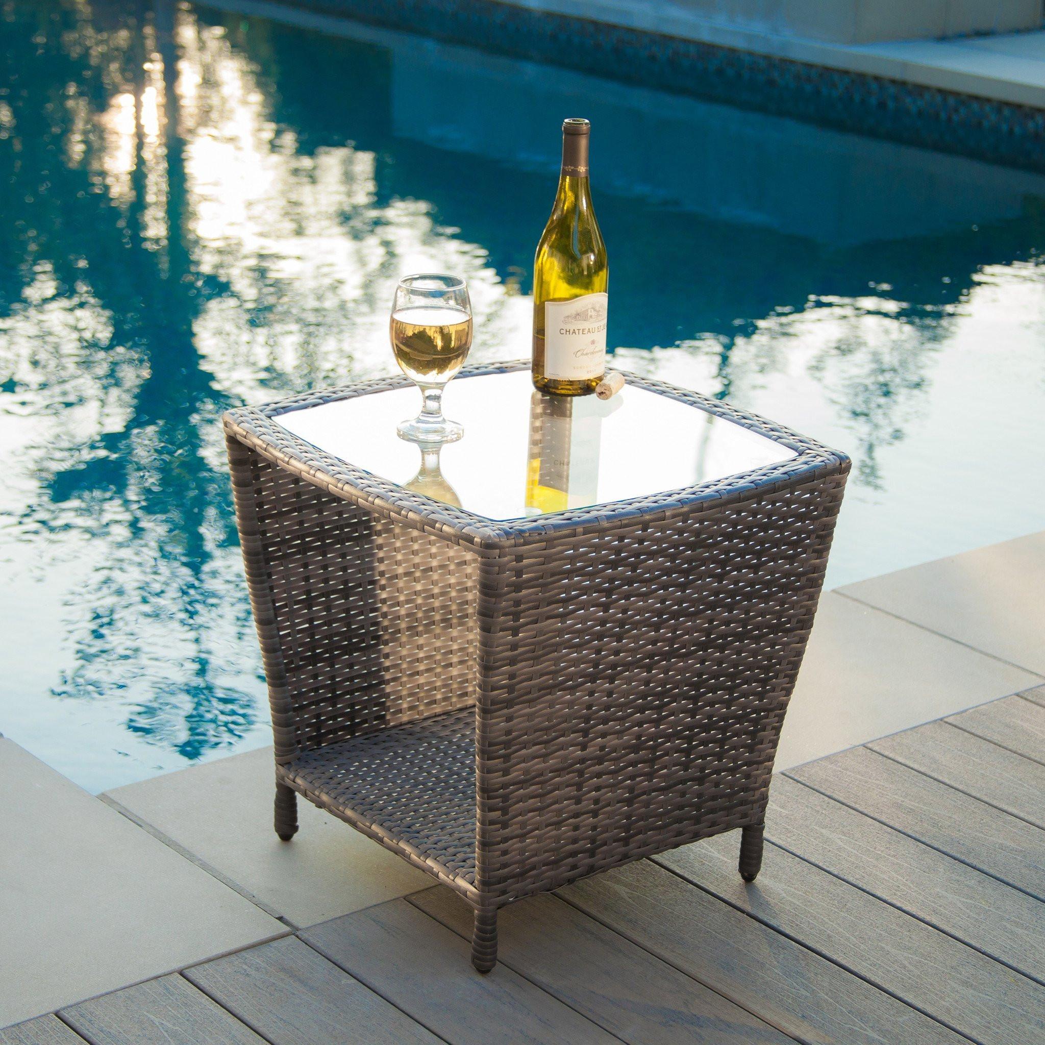 Easton Outdoor Grey Wicker Side Table