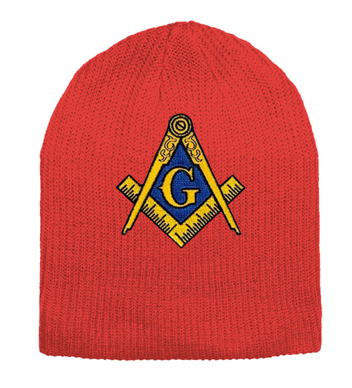 Masonic Hat Winter - Red Beanie Cap - Golden Compa...