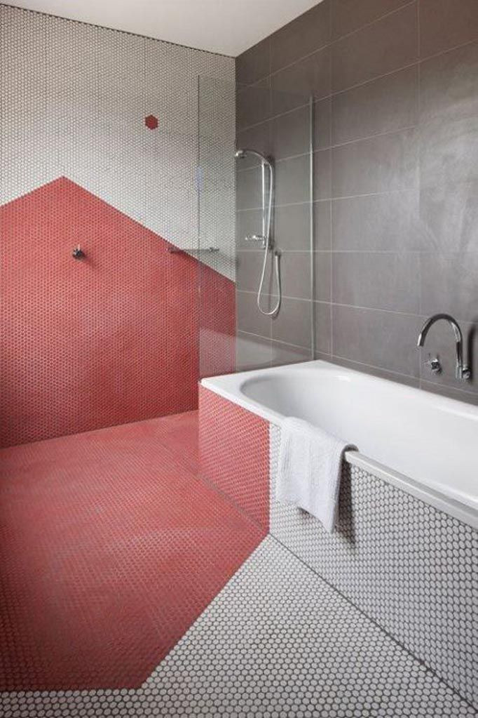 geometric red + white mosaic bathroom tile