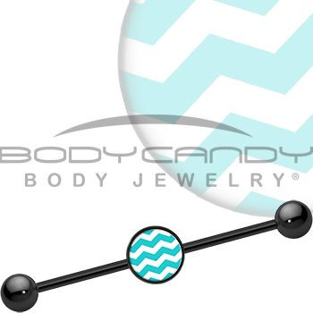 Turquoise White Chevron Industrial Barbell | Body...