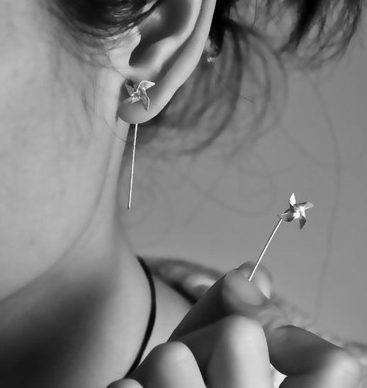 Hanfolded Sterling Silver Pinwheel Earrings W/Long...