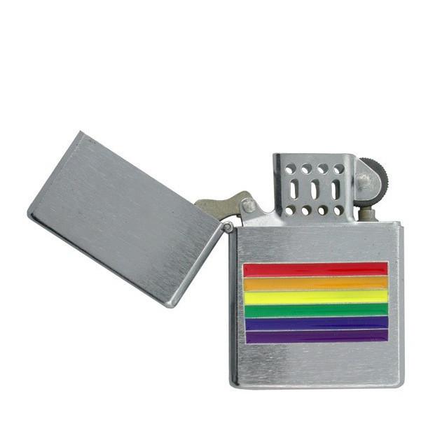 Chrome Center Rainbow Flag Gay Pride Lighter LGBT...