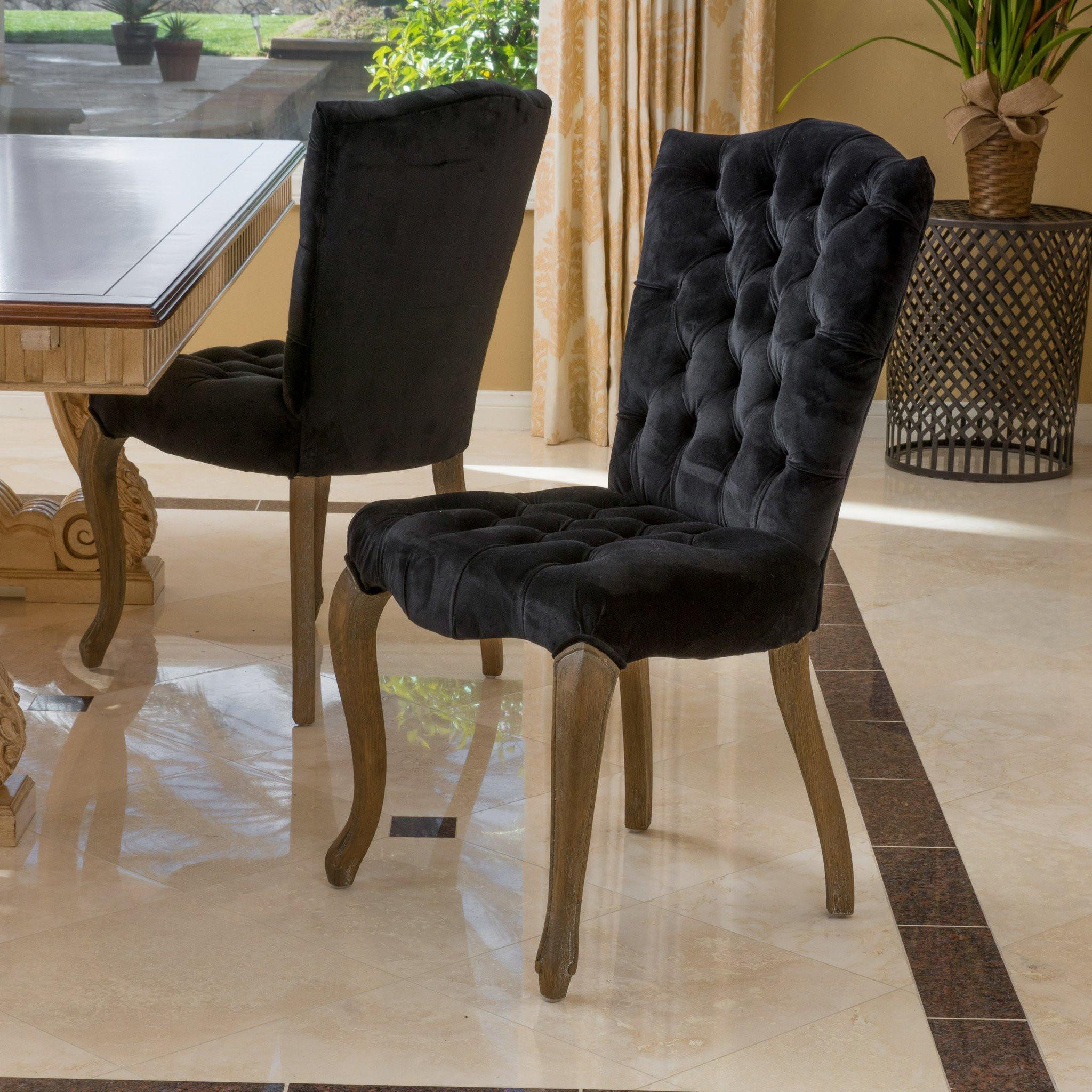 Fernand Black Velvet Dining Chair (Set of 2)