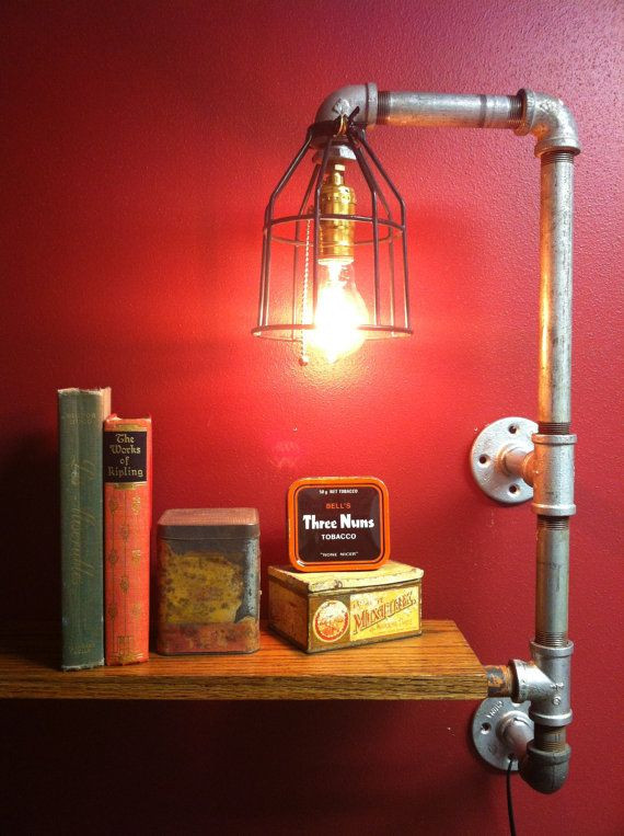 Items similar to Pipe lamp, light with shelf. Upcy...