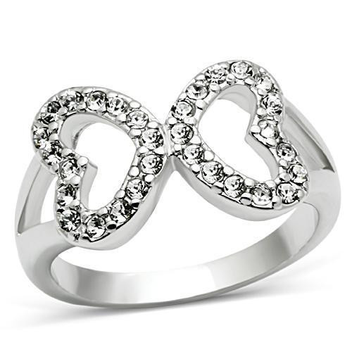 CZ Gem Filled Infinity - (Hearts) Rhodium Electrop...