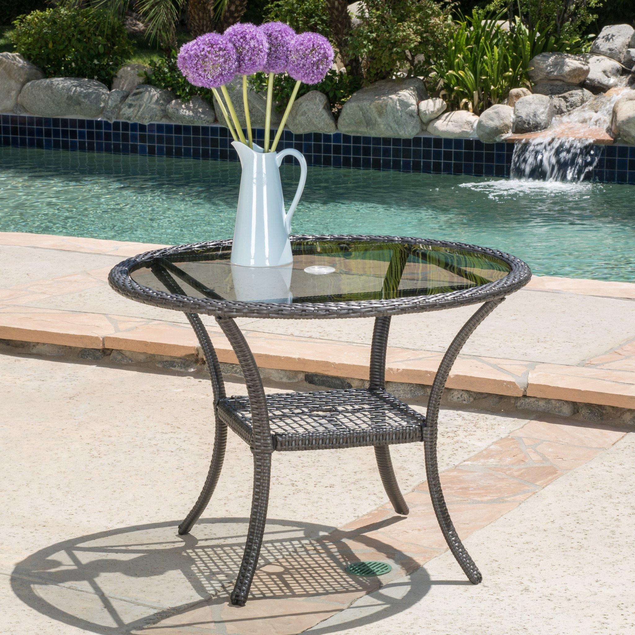 Hopp Outdoor Bistro Grey PE Table