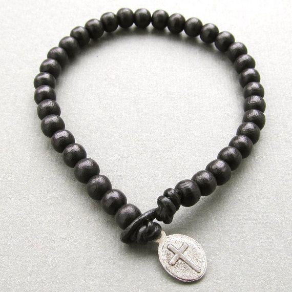 Mens black wooden beaded leather cord bracelet wit...
