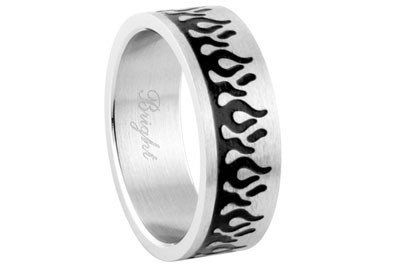 Stainless Steel - Black Flames Ring - Top Quality...