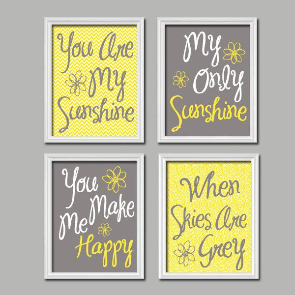 Cute Yellow Grey You Are My Sunshine Quote Nursery...