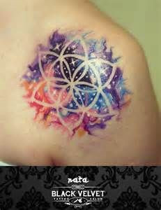 watercolor space tattoo, negative space flower tat...