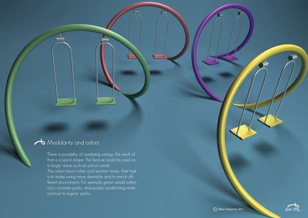 Playground swing by Milos Todorovic, via Behance....