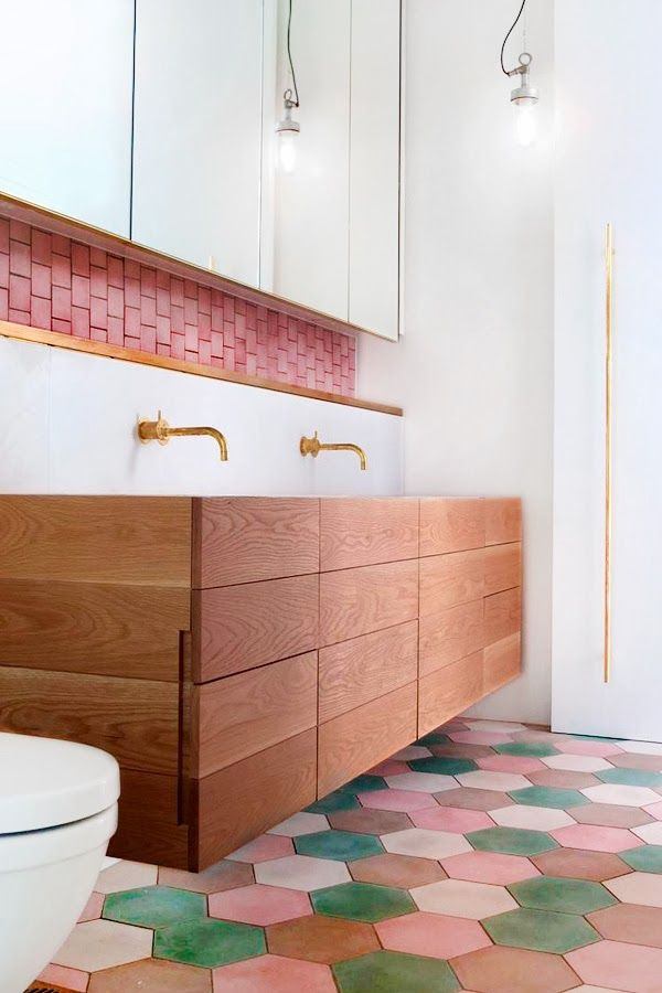 Pink + White + Wood Bathroom - Colorful hexagon fl...