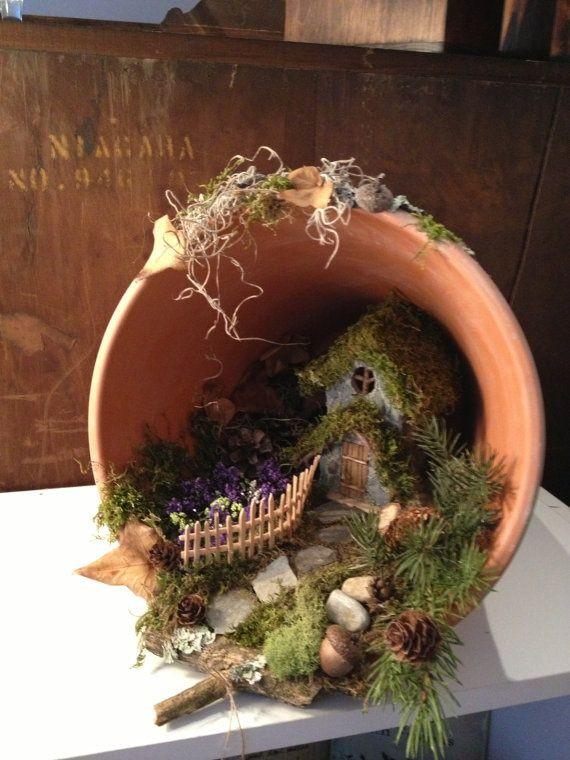 Fairy Garden Ideas | Handmade terra cotta pot fair...