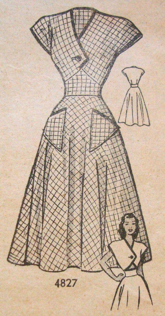 1940s Tea Dress Sewing Pattern Anne Adams 4827 Bus...