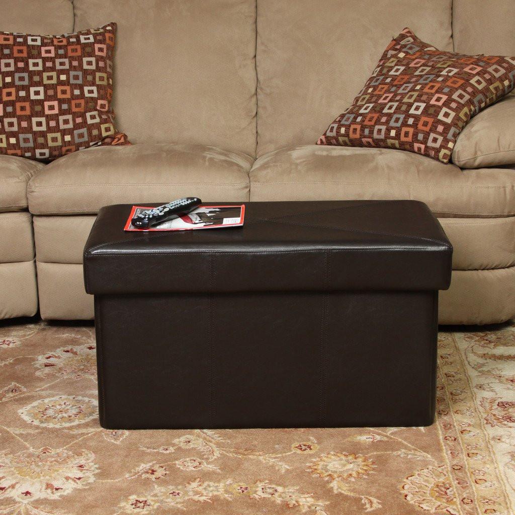 Peabody Brown Leather Folding Storage Ottoman