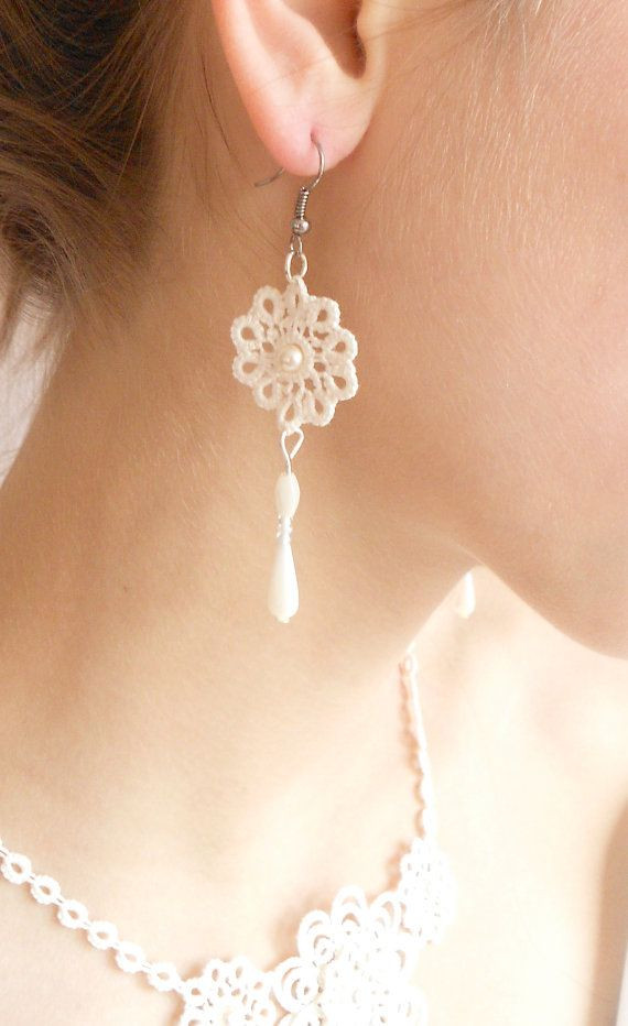 Ivory tatted lace necklace wedding floral Sleeping...
