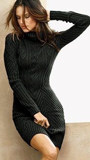 black cable knit sweater dress-Fall