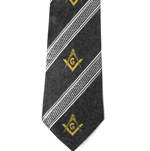 Masonic Neck Tie - Black and Gray Polyester long t...