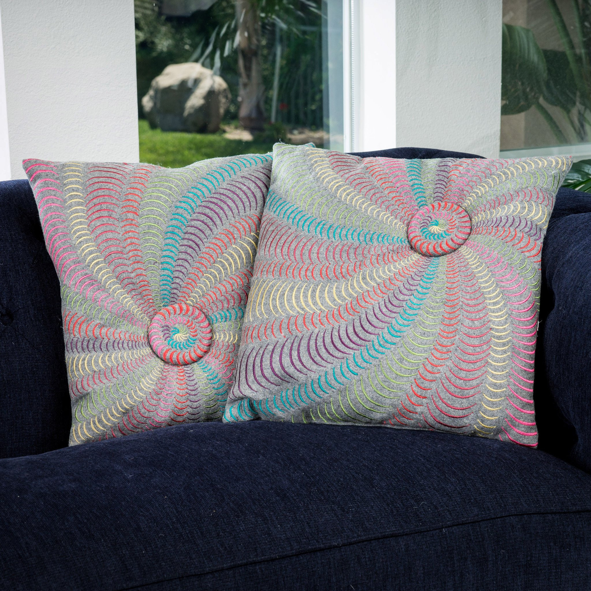 "18"" Multi-Colored Grey Flannel Starburst Pillows (..."
