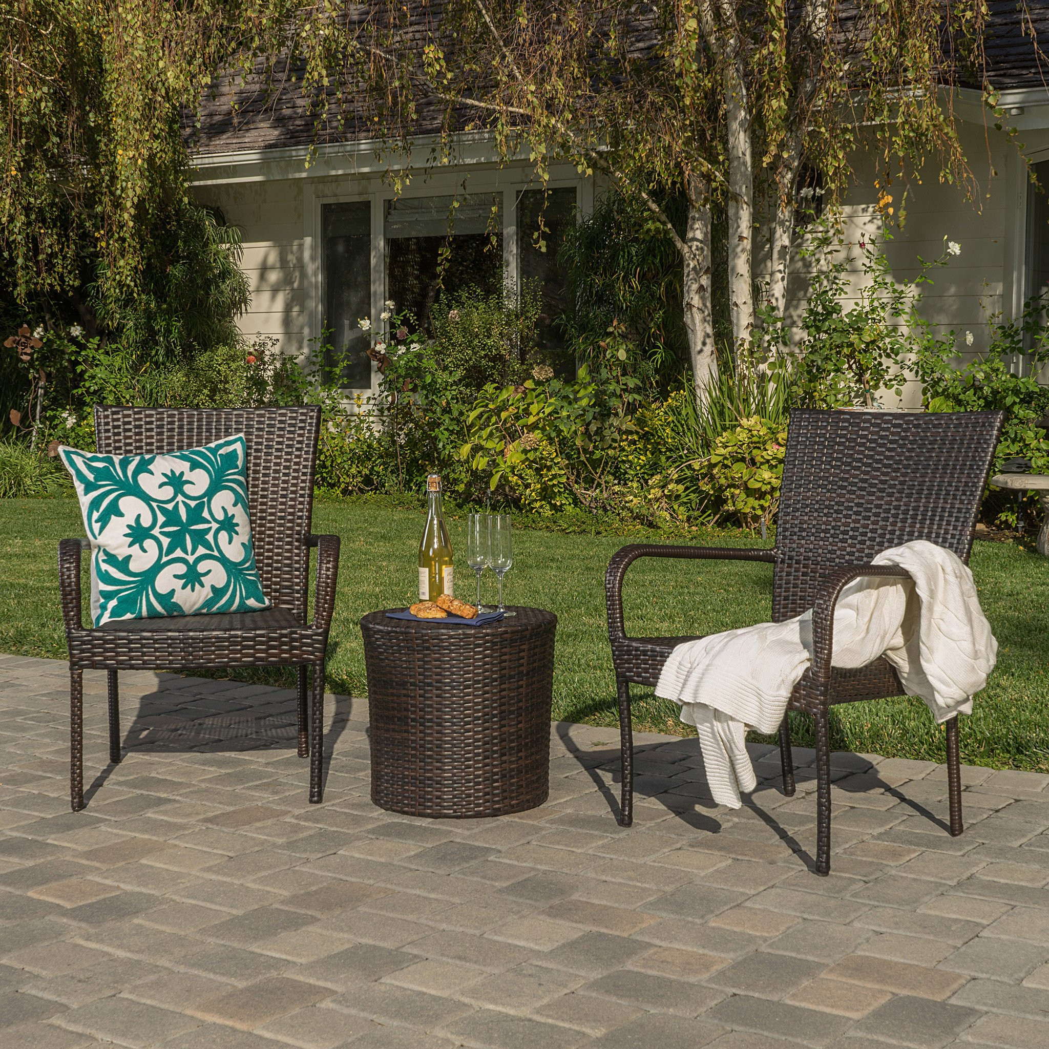 Charleston Outdoors Brown Wicker 3 Piece Stacking...