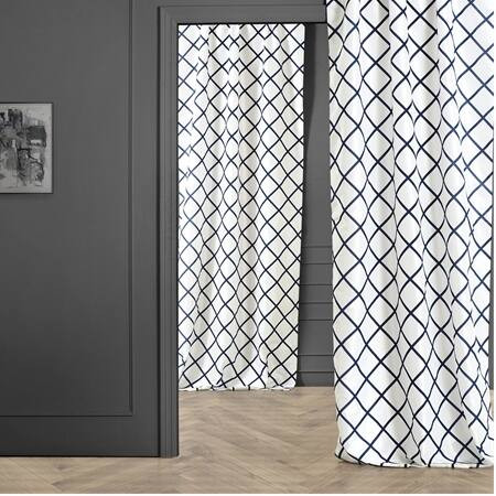 Pavillion Onyx Flocked Faux Silk Curtain