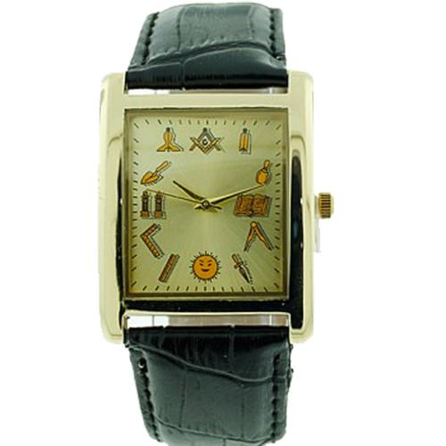 Working Tools - Masonic Watch - Black Leather Band...