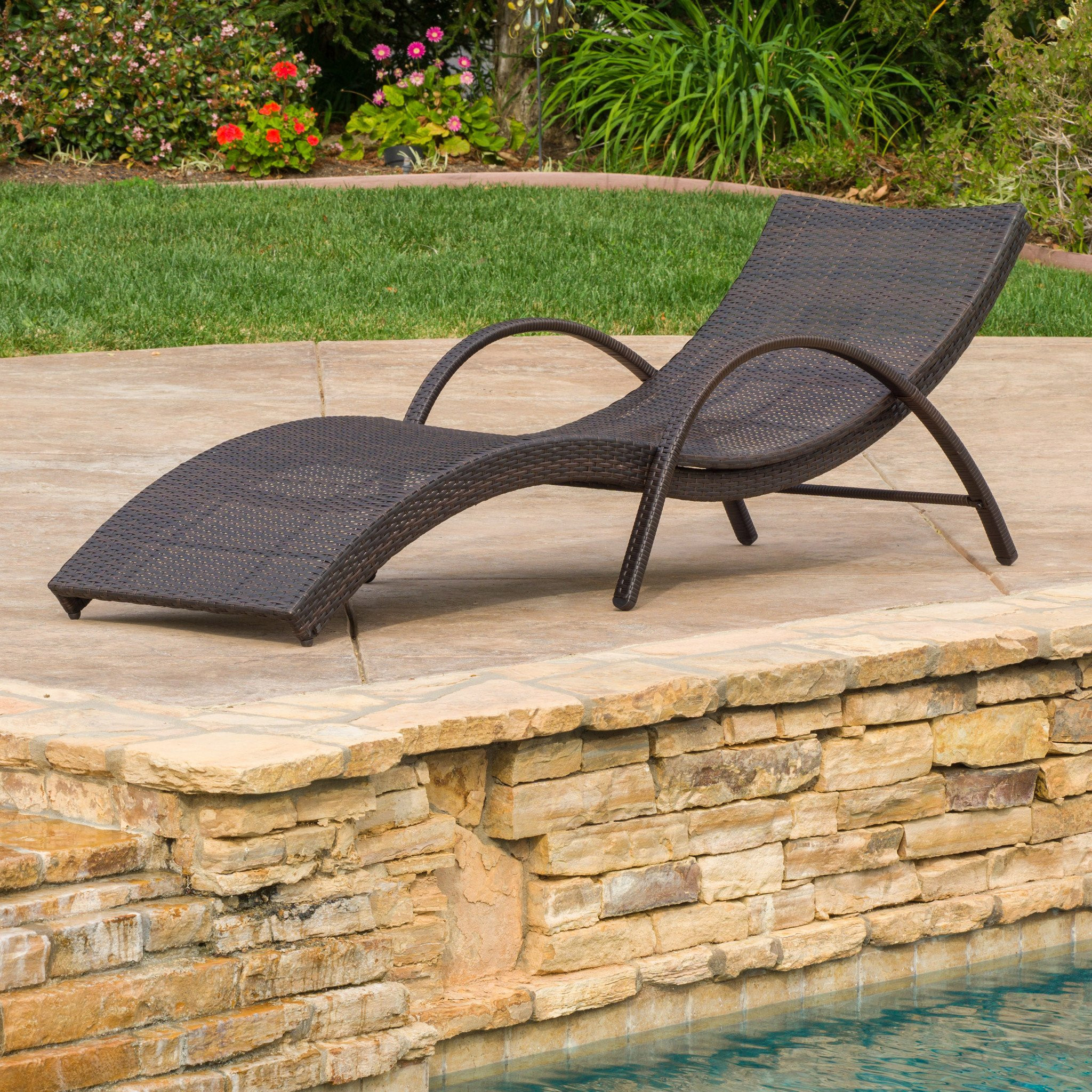 Maureen Outdoor Brown Wicker Folding Armed Chaise...
