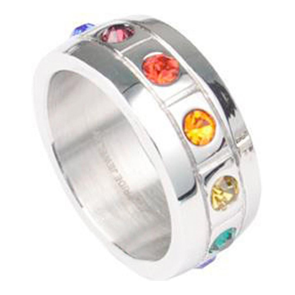 Rainbow CZ Blocks Ring - Gay & Lesbian Pride S...