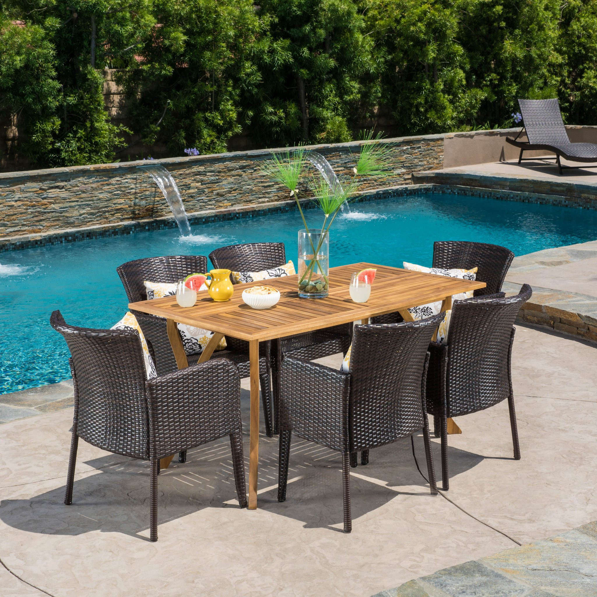 Helton 7 Piece Outdoor Dining Set (Wood Table w/ W...