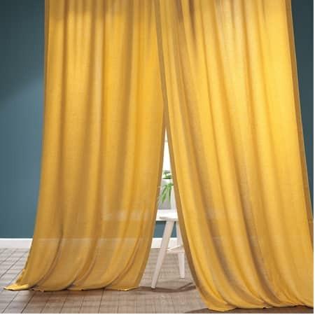 Buttercup Gold Faux Linen Sheer Curtain