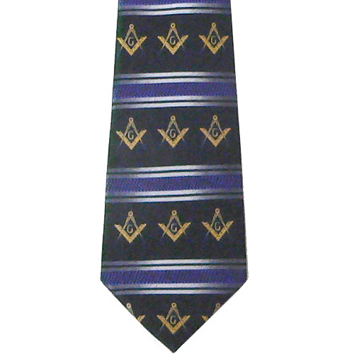 Freemason's Tie - Black Polyester Long Necktie...