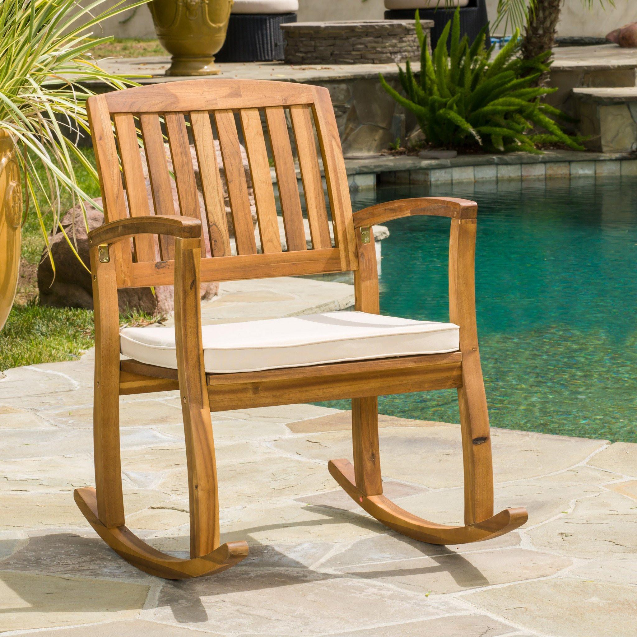 Sadie Outdoor Acacia Wood Rocking Chair with Cushi...