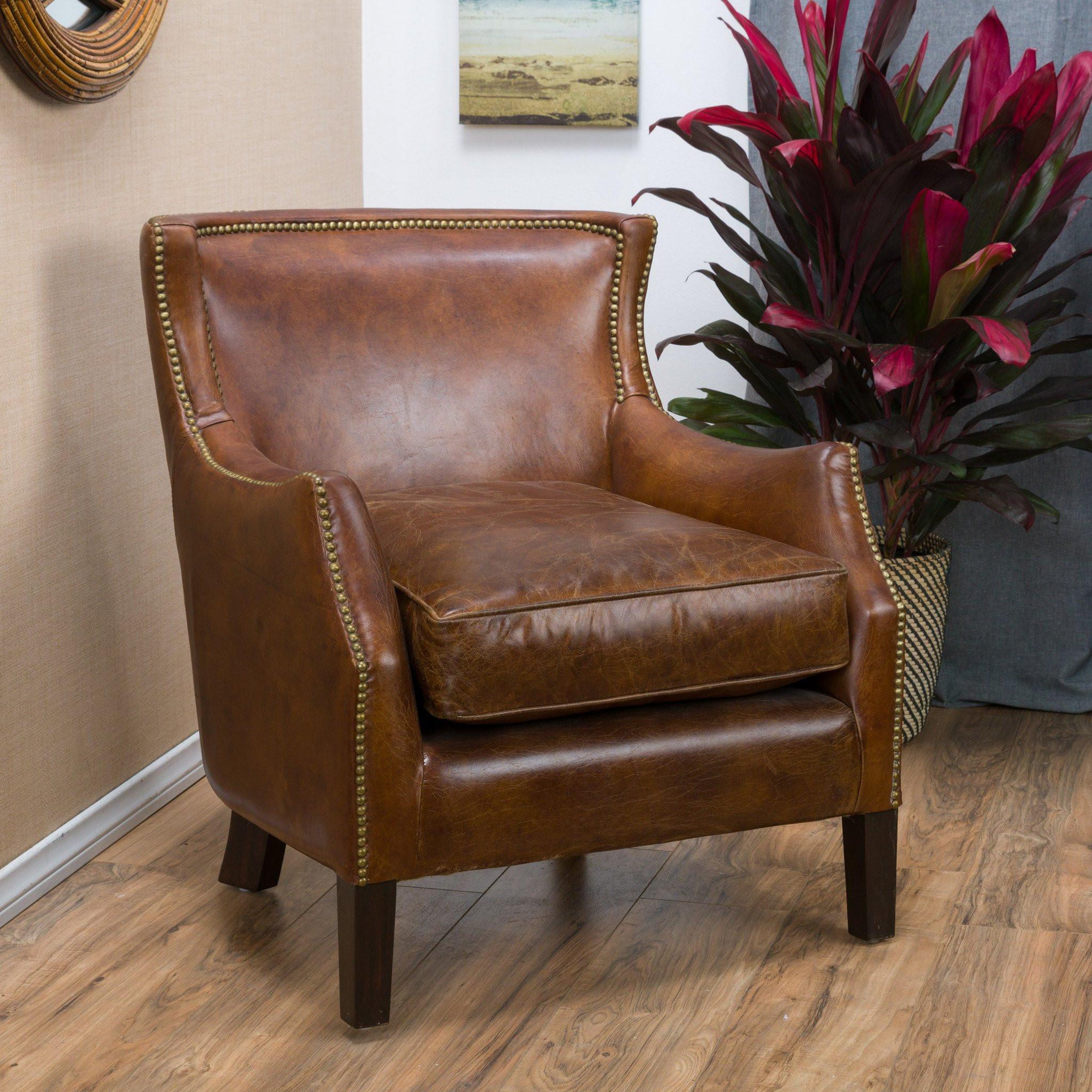 Tiller Top Grain Vintage Design Brown Leather Club...