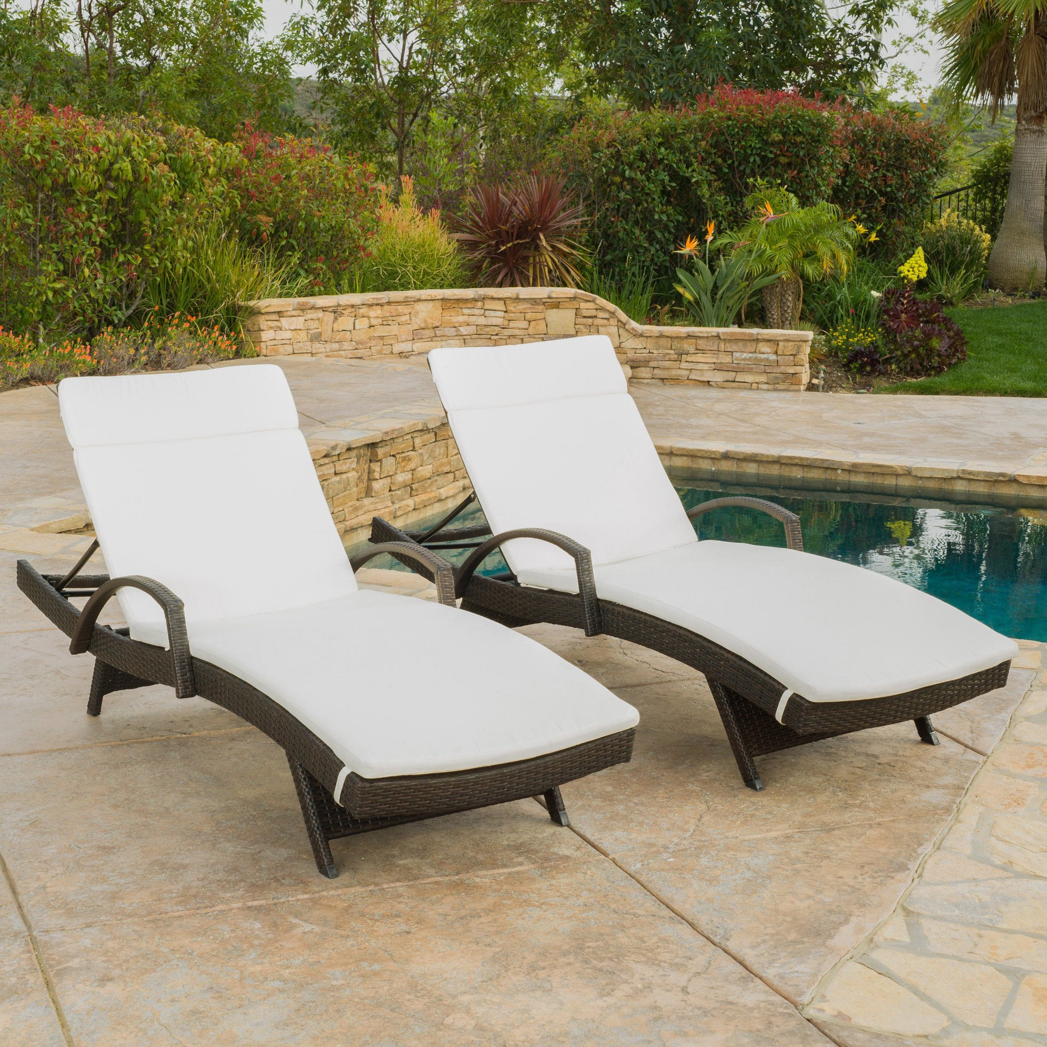 Lakeport Outdoor Wicker Armed Chaise Lounge Chairs...