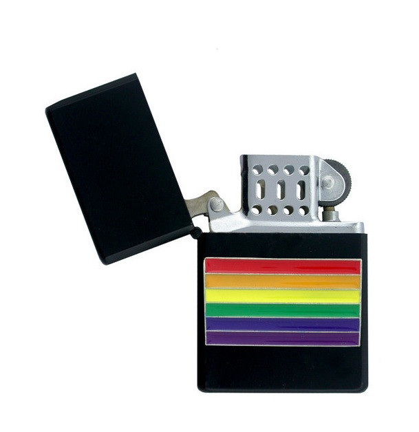 Black Center Rainbow Gay Pride Lighter LGBT Gay an...