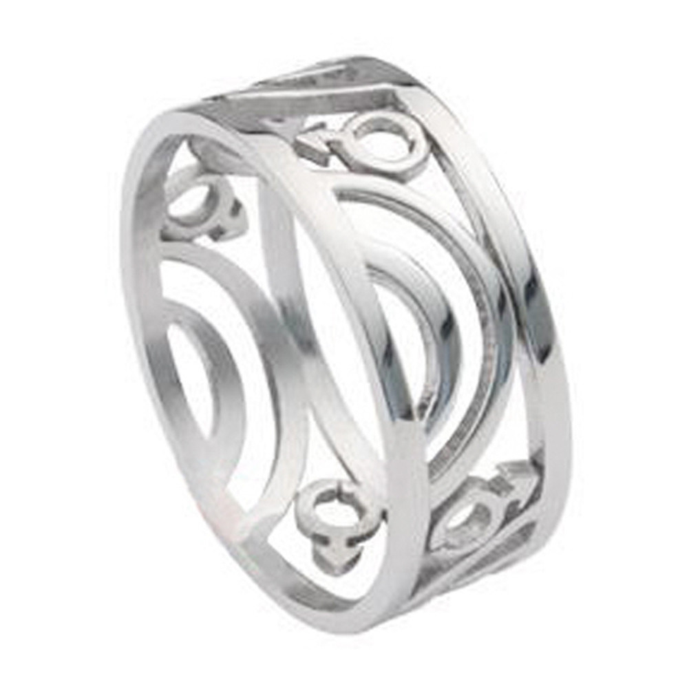 Mars Male Symbol Carved Ring - Steel Gay Ring