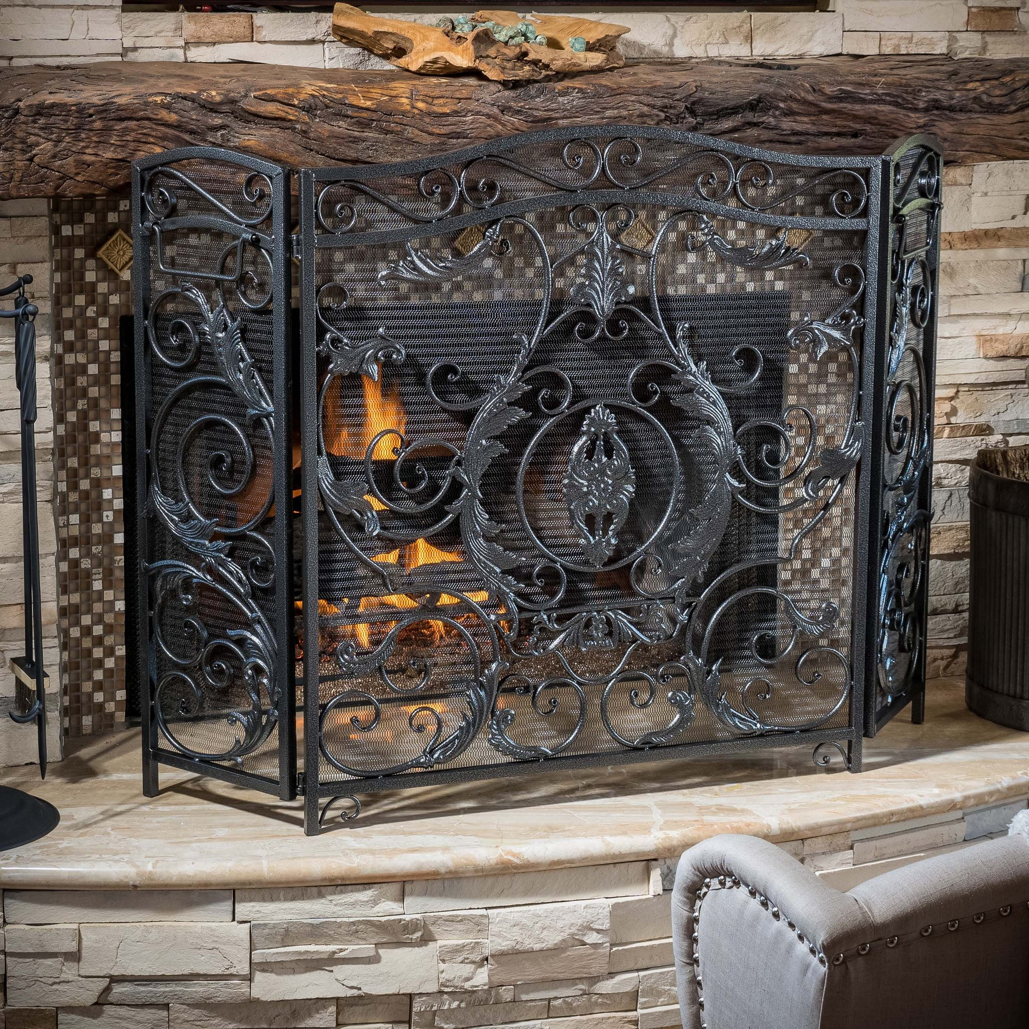 Mariella Black Silver Finish Floral Iron Fireplace...