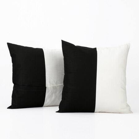 Onyx Black & Off White Horizontal Stripe Cotton Co...