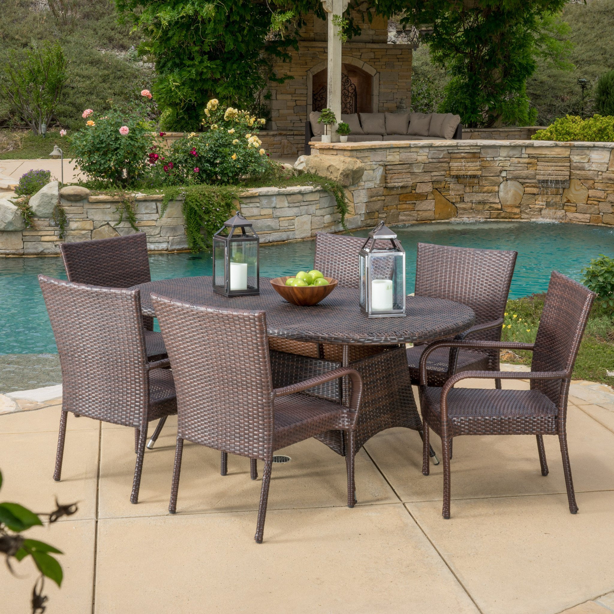Kory Outdoor 7pc Multibrown Wicker Round Dining Se...