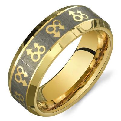 Gold Male Symbols Gay Engagement / Gay Marriage Ri...