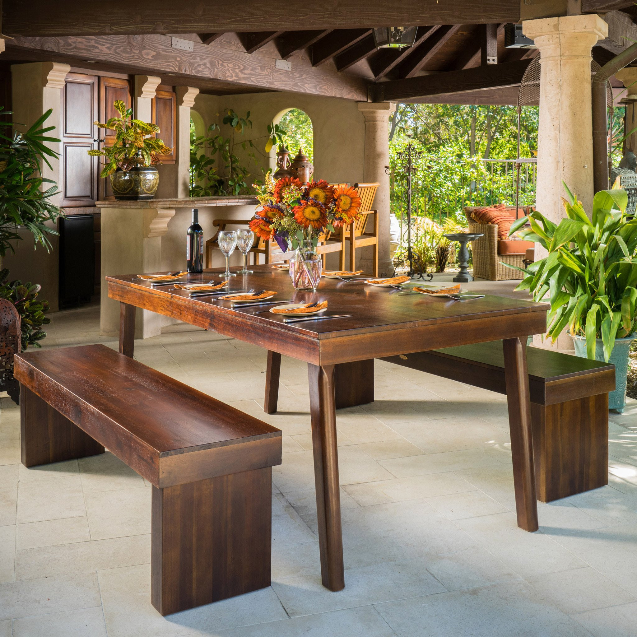 Salvador 3pc Mahogany Stained Wood Table and Bench...