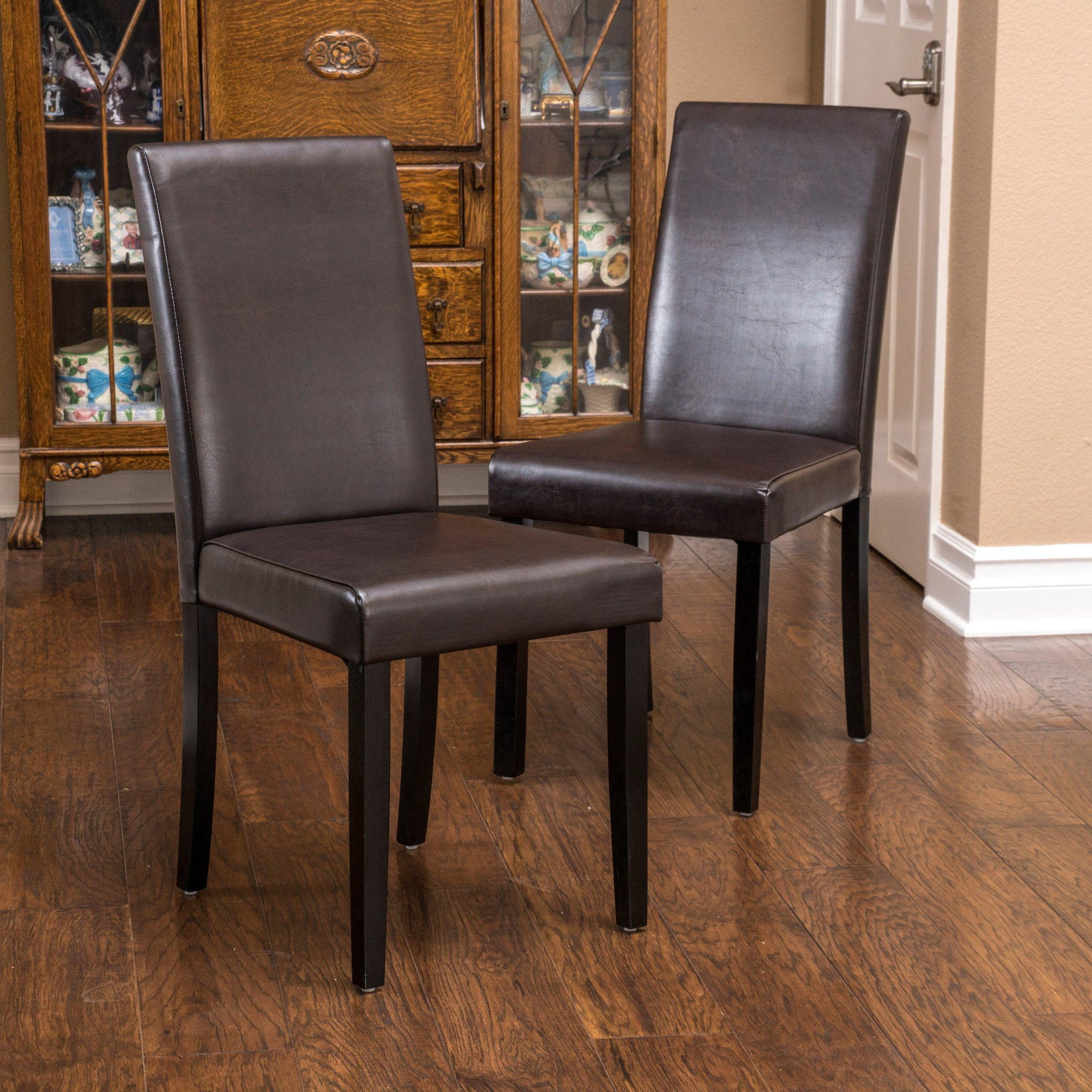 Esteban Brown Leather Parson Dining Chairs (Set of...